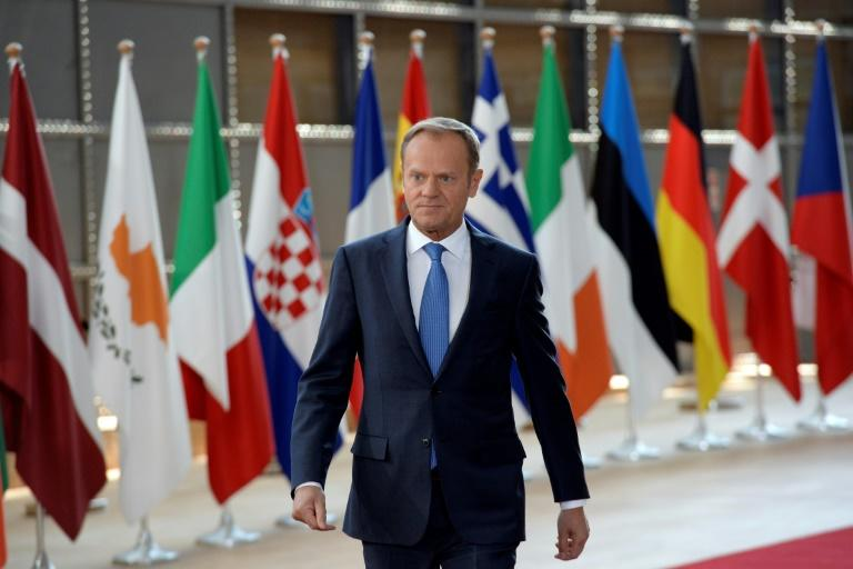 EU President Donald Tusk in Brussels at the HQ of the European Council, on April 29, 2017 for a summit on Brexit negotiating guidelines