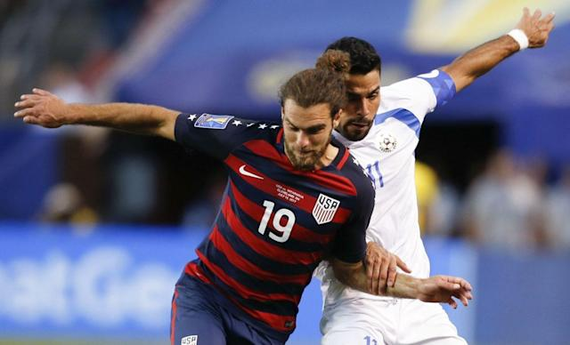 "<a class=""link rapid-noclick-resp"" href=""/soccer/players/graham-zusi/"" data-ylk=""slk:Graham Zusi"">Graham Zusi</a> (19) and the United States had an up-and-down week but ultimately won Group B. (Getty)"