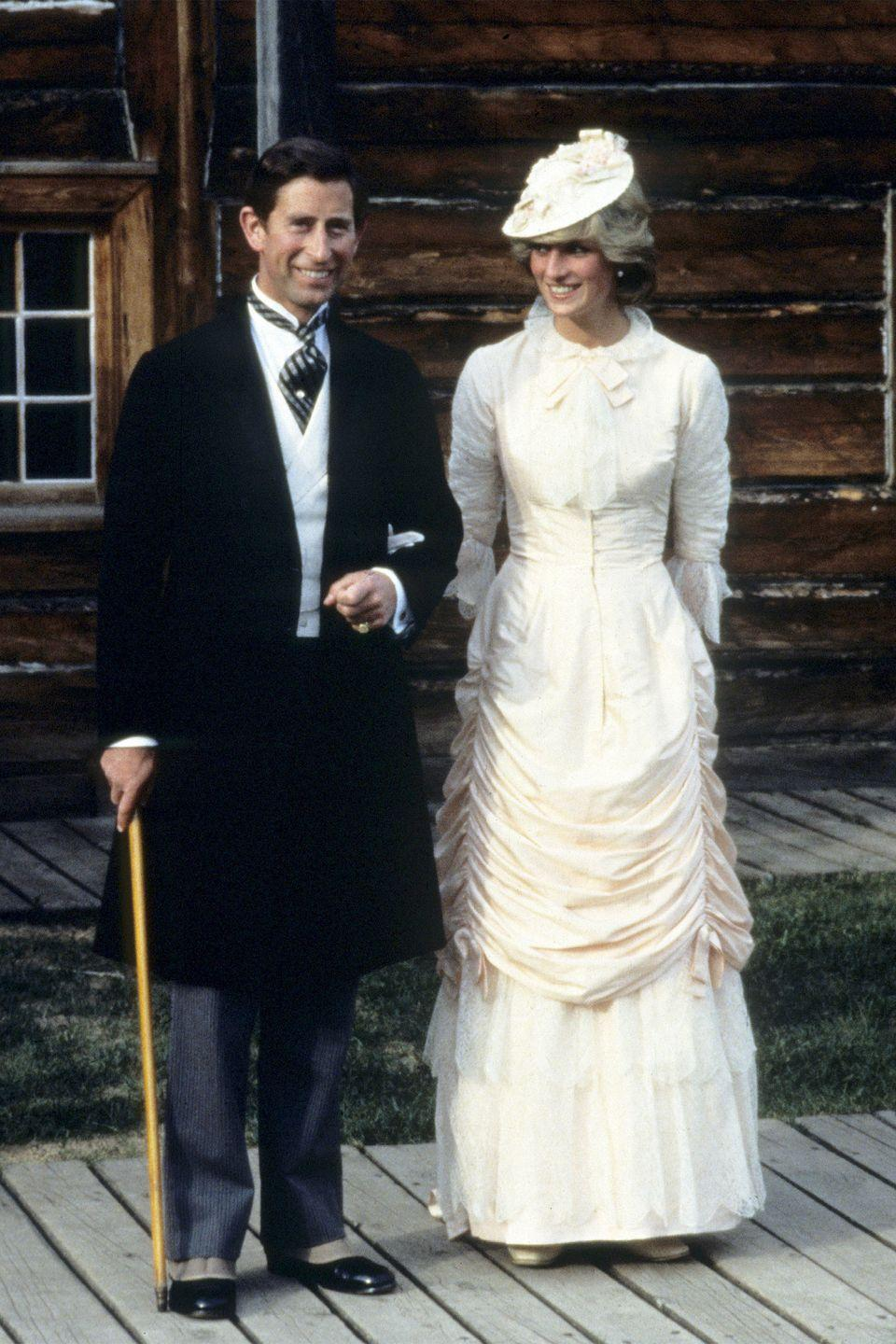 <p>In a traditional Klondike costume with her husband during the Royal Tour of Cananda. </p>