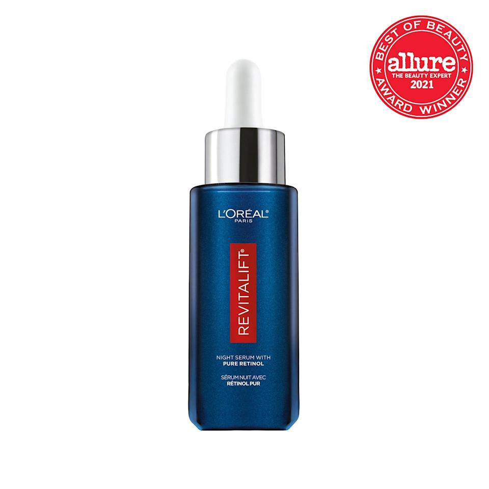 """Containing the purest and most potent <a href=""""https://www.allure.com/story/what-is-retinol-how-to-use-retinoids-in-skin-care?mbid=synd_yahoo_rss"""" rel=""""nofollow noopener"""" target=""""_blank"""" data-ylk=""""slk:form of vitamin A"""" class=""""link rapid-noclick-resp"""">form of vitamin A</a>, <strong>L'Oréal Paris Revitalift Derm Intensives 0.3% Pure Retinol Serum</strong> turns over cells at a clip, visibly smoothing lines and reducing wrinkles in weeks."""