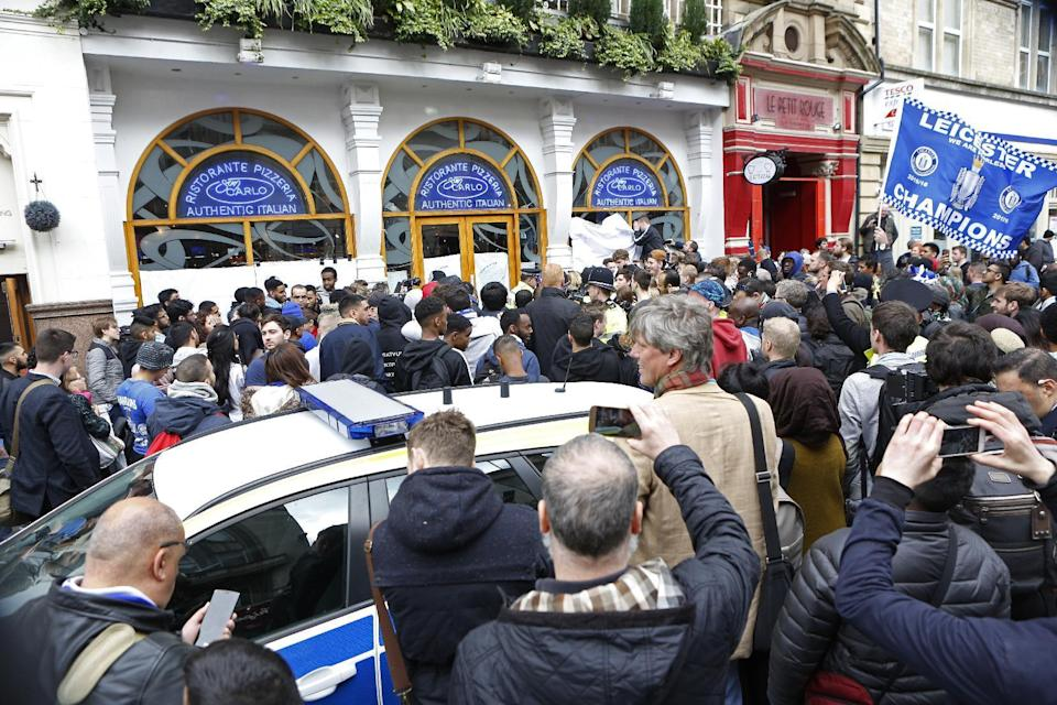 Britain Soccer Football - Leicester City celebrate winning Premier League title - Leicester - 3/5/16 General view outside San Carlo restaurant where the Leicester team are having lunch Action Images via Reuters / Craig Brough Livepic EDITORIAL USE ONLY.