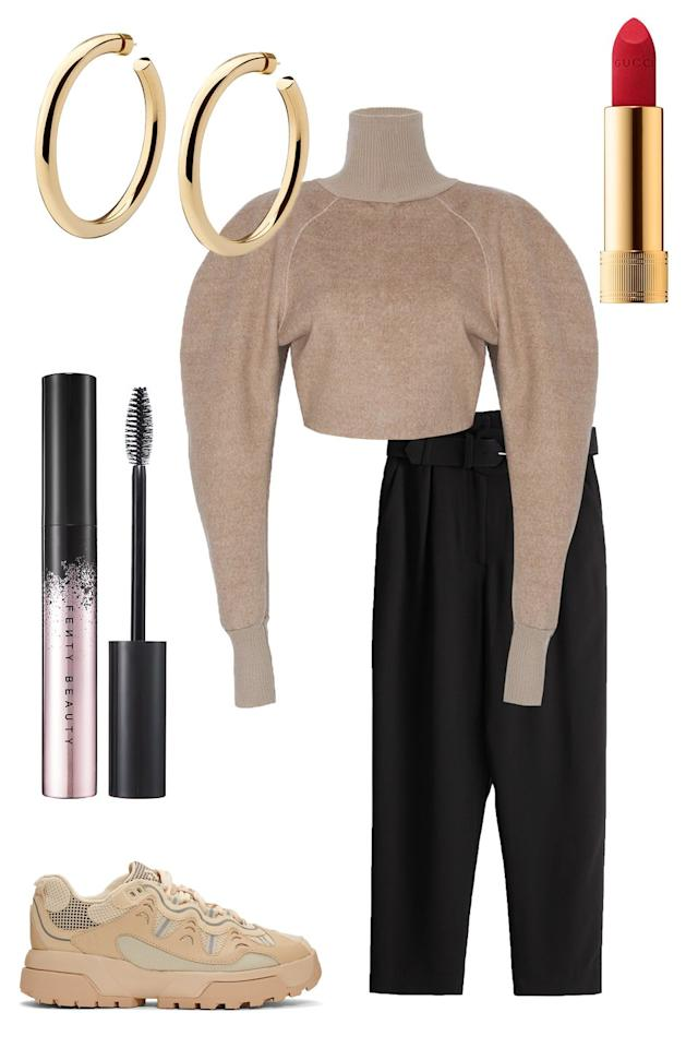 """<p>""""Big Businesswoman Energy is my vibe for 2020, and the upcoming NYFW. I want to wake up each day of fashion week to Dolly Partons's """"9 to 5"""" and slip into my business lady special. The special varies from oversized blazers and slip dresses to <a href=""""https://www.elle.com/fashion/shopping/a29875426/the-definitive-grandpa-slacks-explainer/"""" target=""""_blank"""">Bernie Sander's-inspired slacks</a> and cashmere sweater scarf sets. It may be 2020 but I want to channel my inner '80s finance executive making it in the big city. I've invested in a solid pair of Grandpa slacks from & Other Stories and a Puff Sleeve Zip Back Top from The Frankie Shop. Neutrals that scream """"I drink lots of red wine and never spill."""" I already have the perfect black mascara, thank you Rihanna, and a new red lip I'm currently obsessing over from Gucci. The last bit is a pair of heels for the shows and sneakers for the subway. You can have it all!""""— <strong>Chloe Hall, ELLE.com Beauty Director </strong></p><p><em>Frankie Shop Puff Sleeve Zip Back Top, $125, <a href=""""https://thefrankieshop.com/collections/tops/products/puff-sleeve-zip-back-top-wheat"""" target=""""_blank"""">thefrankieshop.com</a>; Stories Belted Paperbag Waist Trousers, $89, <a href=""""https://www.stories.com/en_usd/clothing/trousers/product.belted-paperbag-waist-trousers-black.0849849001.html"""" target=""""_blank"""">stories.com</a>; Beige Golf Le Fleur Gianno Sneakers, $130, <a href=""""https://www.ssense.com/en-us/men/product/converse/beige-golf-le-fleur-gianno-sneakers/4489171?gclid=Cj0KCQiApt_xBRDxARIsAAMUMu-8MwJtAQxX4M801Z1bDsm7-qK7B-dp0jgMJdx3M_QrveRx1tu0kkwaAgd-EALw_wcB"""" target=""""_blank"""">ssense.com</a>; Jennifer Fisher Samira Hoop, $500, <a href=""""https://jenniferfisherjewelry.com/collections/hoops/products/2-samira-hoop"""" target=""""_blank"""">jenniferfisherjewelry.com</a>; Gucci Rouge à Lèvres Mat Matte Lipstick, $42, <a href=""""https://www.sephora.com/product/gucci-gucci-rouge-a-levres-mat-matte-lipstick-P453273?icid2=use%20it%20with:p453273:product"""" t"""