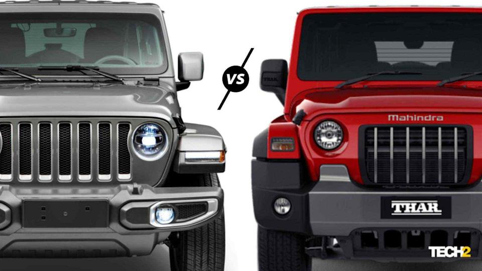 There's no denying the visual link between the second-gen Mahindra Thar and the current Jeep Wrangler. Image: Tech2/Amaan Ahmed