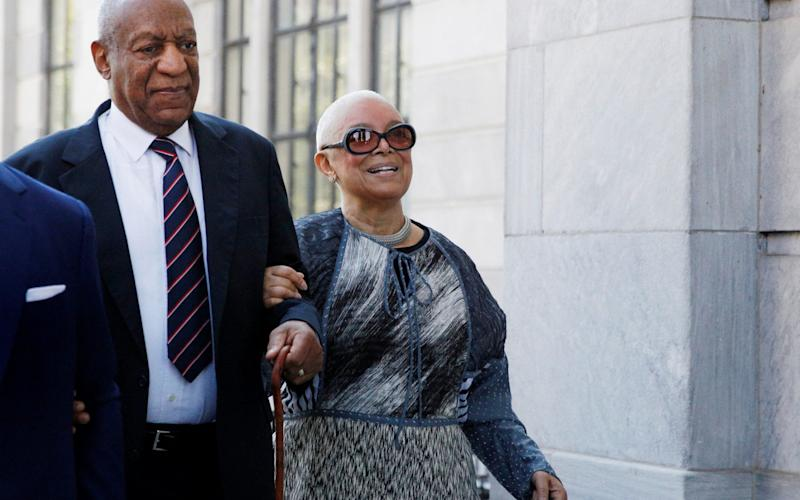 Bill Cosby and his wife Camille, arriving at court on Monday - REUTERS