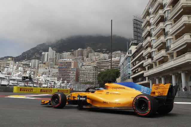 Mclaren driver Fernando Alonso of Spain steers his car during a practice session in Monaco, Thursday, May 24, 2018. The Formula one race will be held on Sunday. (AP Photo/Luca Bruno)