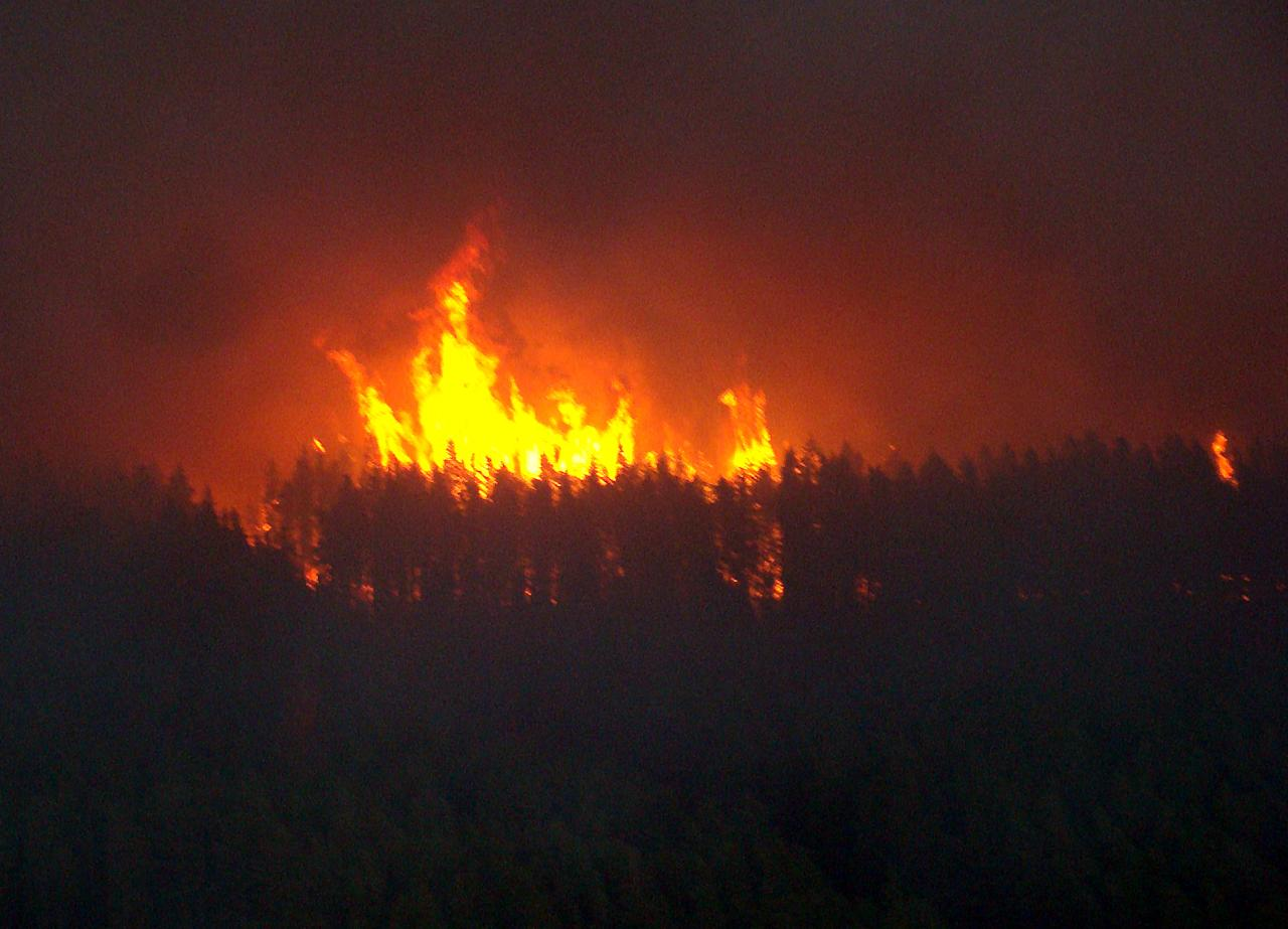 This photo provided by the Michigan Department of Natural Resources shows a wildfire in Michigan's Upper Peninsula. The fire grew by 17 percent to more than 21,000 acres Saturday, May 26, 2012, as officials warned of tough conditions and welcomed help from water-dumping aircraft from the Michigan National Guard. (AP Photo/Michigan Department of Natural Resources)
