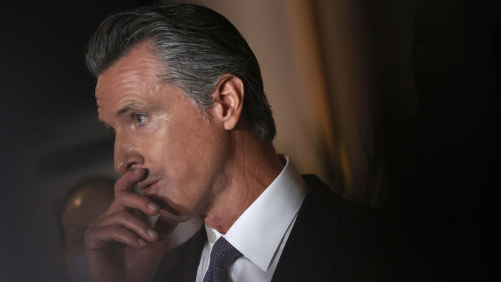 California Gov. Gavin Newsom speaks during a news conference at Manny's on August 13, 2021 in San Francisco, California. (Justin Sullivan/Getty Images)