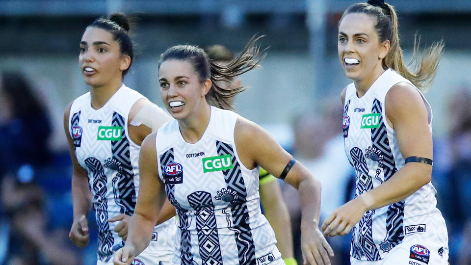 Collingwood's 2021 AFLW campaign got off to a great start with a six-point win over Carlton. (Photo by Daniel Pockett/AFL Photos via Getty Images)