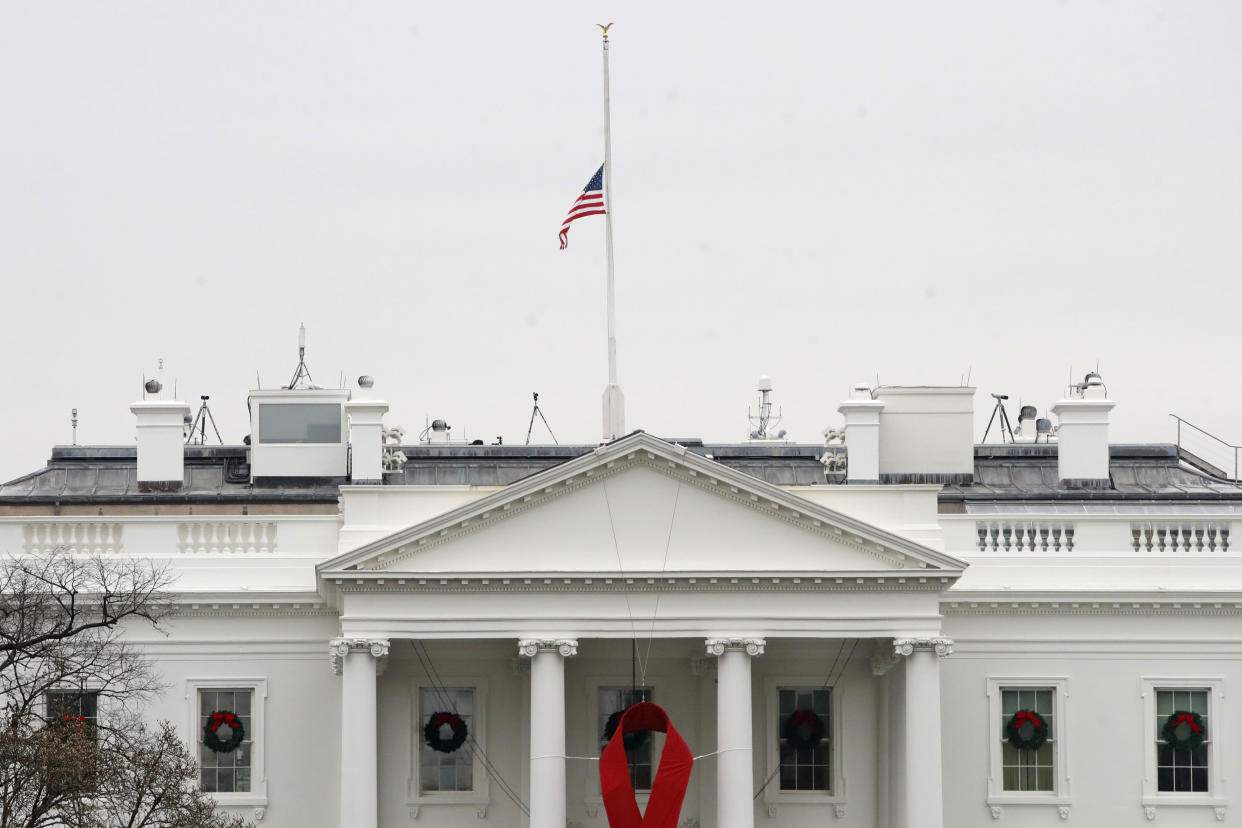 The American flag files at half-staff at the White House on Dec. 1. (Photo: Jacquelyn Martin/AP)
