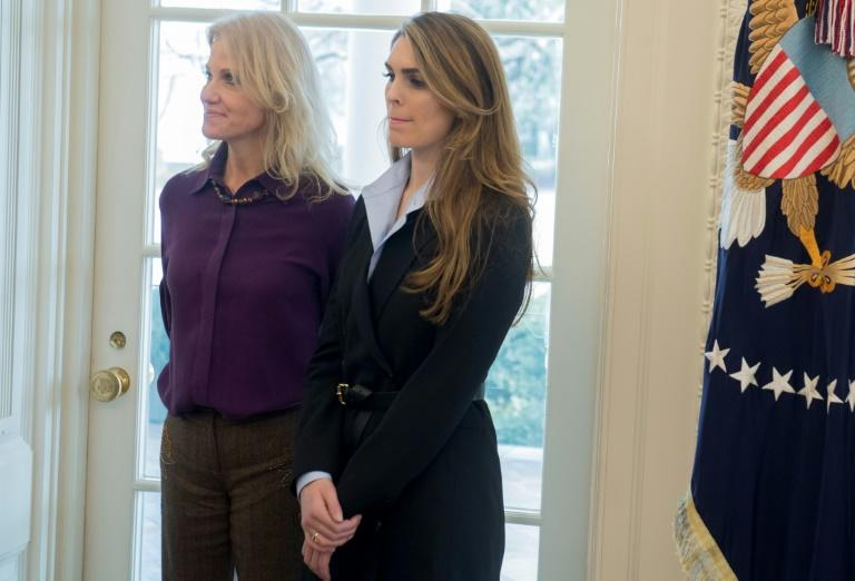 White House Communications Director Hope Hicks (R) seen here with Counselor Kellyanne Conway in the Oval Office, helped craft the response to the scandal over Rob Porter, despite being romantically involved with him