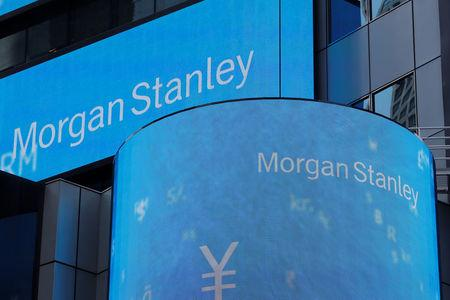 A sign is displayed on the Morgan Stanley building in New York