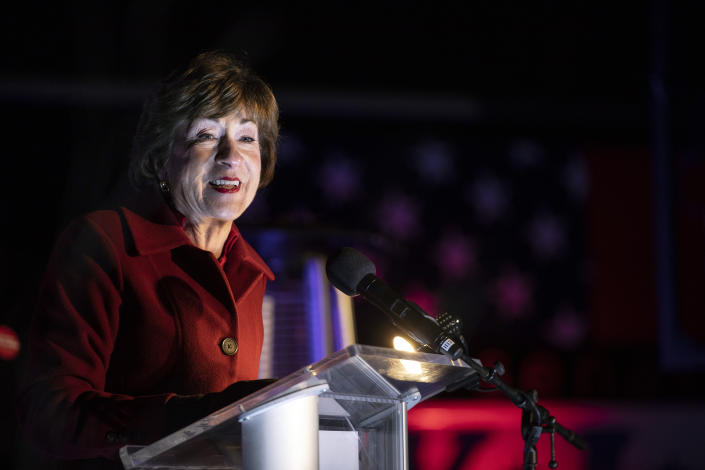 Sen. Susan Collins speaks to supporters at an election night event outside of the Hilton Garden Inn on Tuesday, November 3, 2020. (Brianna Soukup/Portland Press Herald via Getty Images)