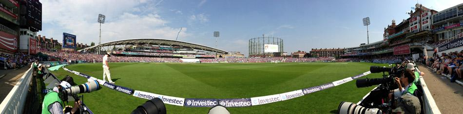 LONDON, ENGLAND - AUGUST 23: (EDITORS NOTE: Image was created using a Panoramic feature on an iPhone camera.) A general view of play during day three of the 5th Investec Ashes Test match between England and Australia at the Kia Oval on August 23, 2013 in London, England.  (Photo by Ryan Pierse/Getty Images)