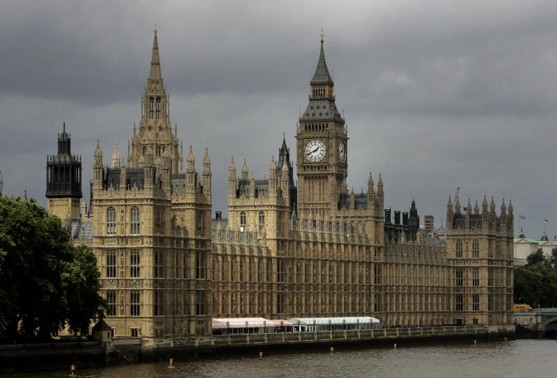 FILE - In this Thursday, July 26, 2007 file photo, a general view of the Houses of Parliament on the river Thames in London. British Prime Minister Theresa May has announced she will step down as leader of the Conservative Party on June 7, 2019 starting a process that will lead to a Conservative Party leadership contest and a new British prime minister who will lead the government during the Brexit process. (AP Photo/Kirsty Wigglesworth, File)