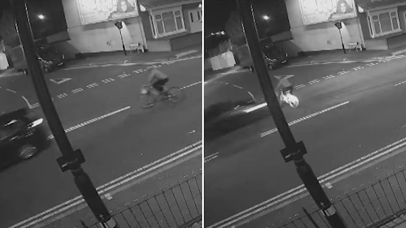 CCTV tootage of a fatal hit-and-run between a cyclist and a car in Birmingham.