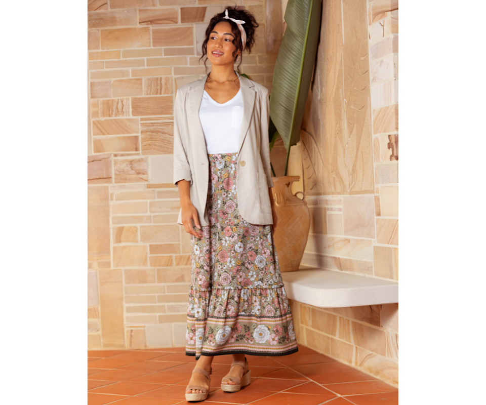 Womens Floral Border Placement Maxi Skirt. Source: Best&Less