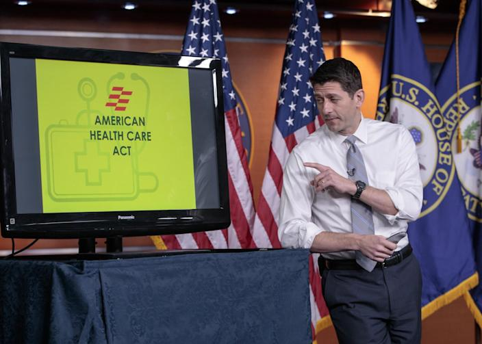 House Speaker Paul Ryan, R-Wis., uses charts and graphs to make his case for the GOP's long-awaited plan to repeal and replace the Affordable Care Act, at a news conference on Capitol Hill on March 9, 2017. (Photo: J. Scott Applewhite/AP)