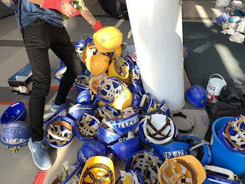 Helmets and other items are gathered at Chinese University. Photo: Kinling Lo