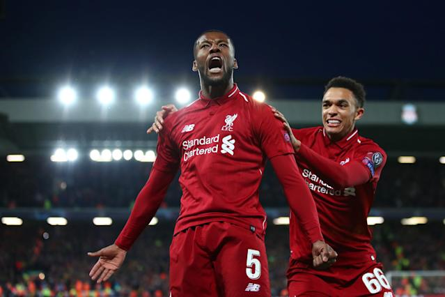 Georginio Wijnaldum of Liverpool celebrates after scoring his team's third goal during the UEFA Champions League Semi Final second leg match between Liverpool and Barcelona at Anfield on May 07, 2019 in Liverpool, England. (Photo by Clive Brunskill/Getty Images)