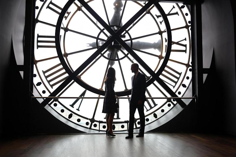 Paris: The couple look through the clock at Musee d'Orsay (Getty Images)