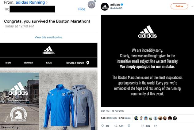 "<p>Adidas was forced to apologize for a <a href=""https://ca.sports.yahoo.com/adidas-apologises-apos-survived-boston-111800949.html"" data-ylk=""slk:tone-deaf congratulatory email;outcm:mb_qualified_link;_E:mb_qualified_link"" class=""link rapid-noclick-resp newsroom-embed-article"">tone-deaf congratulatory email</a> that was sent to runners in the Boston Marathon. This year's race included two survivors of the 2013 bombing that killed three people and injured more than 260 others. </p>"