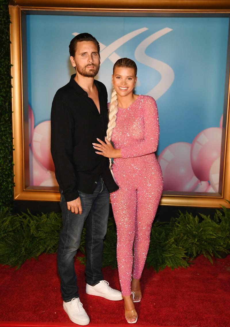 Scott Disick and Sofia Richie arrive at Sophia Richie's 21st birthday celebration at XS Nightclub at Wynn Las Vegas on August 24, 2019 in Las Vegas, Nevada.