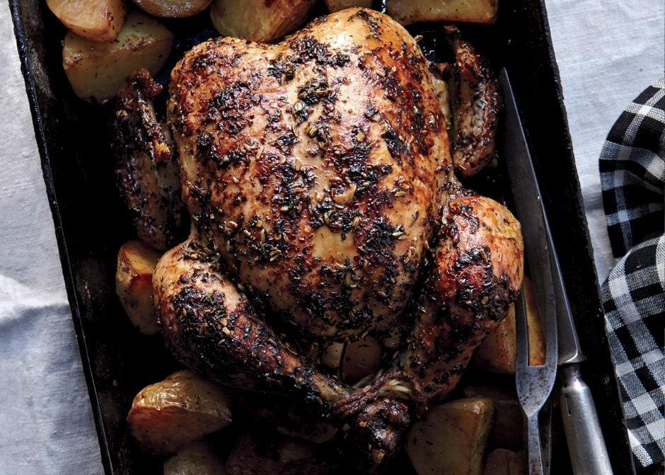 """You can roast a chicken in less time, but going low-and-slow yields a meltingly tender, shreddable texture. <a href=""""https://www.bonappetit.com/recipe/herbed-faux-tisserie-chicken-and-potatoes?mbid=synd_yahoo_rss"""" rel=""""nofollow noopener"""" target=""""_blank"""" data-ylk=""""slk:See recipe."""" class=""""link rapid-noclick-resp"""">See recipe.</a>"""