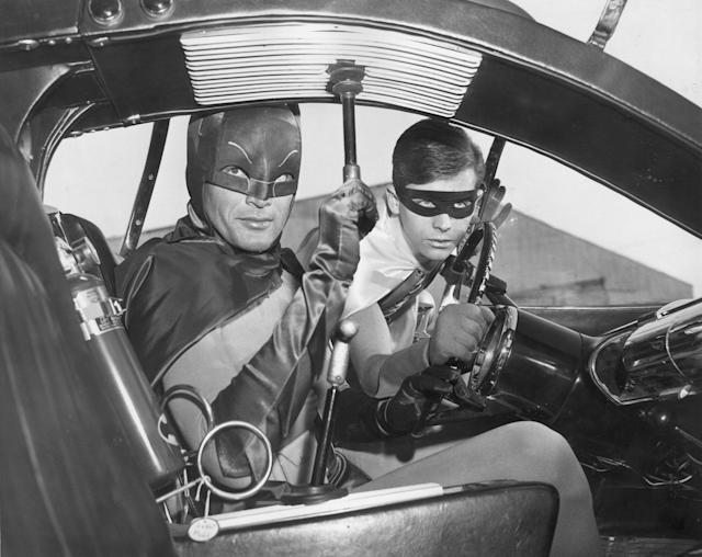 "<p>Actors Adam West (left) and Burt Ward as Batman and Robin in the Batmobile in a still from the television series, ""Batman,"" 1966. (Photo: Hulton Archive/Getty Images) </p>"