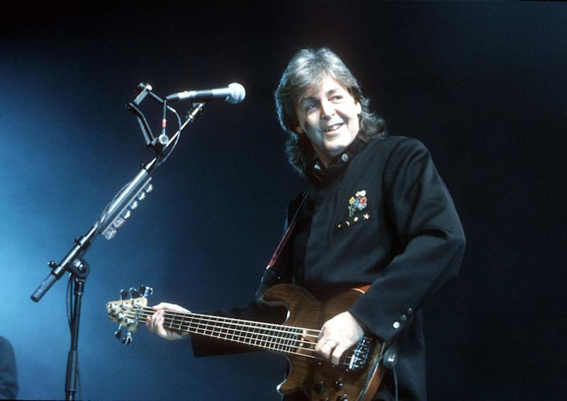 Paul McCartney performs live on stage at Wembley Arena on January 14 1990.