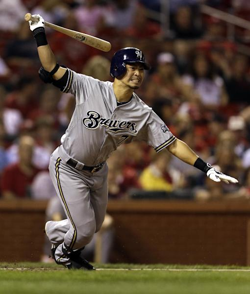 Milwaukee Brewers' Norichika Aoki grounds out to end the top of the third inning of a baseball game against the St. Louis Cardinals, Friday, Sept. 7, 2012, in St. Louis. (AP Photo/Jeff Roberson)