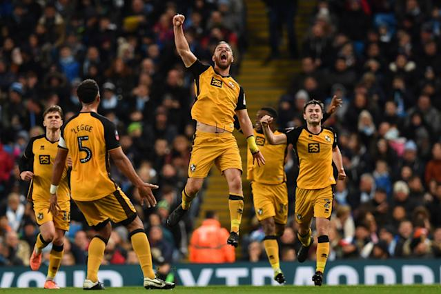 Tom Pope scored a memorable goal for Port Vale against Manchester City in the FA Cup. (Photo by PAUL ELLIS/AFP via Getty Images)