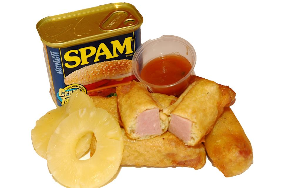 """Would you venture to try this <a href=""""http://www.chickencharlies.com/index.html"""" rel=""""nofollow noopener"""" target=""""_blank"""" data-ylk=""""slk:deep-fried Spam?"""" class=""""link rapid-noclick-resp"""">deep-fried Spam?</a>"""