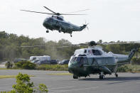 Marine One, with President Joe Biden on board, prepares to land at Rehoboth Beach, Del., Wednesday, June 2, 2021. Biden is spending a few days at his home in Rehoboth Beach to celebrate first lady Jill Biden's 70th birthday. (AP Photo/Susan Walsh)