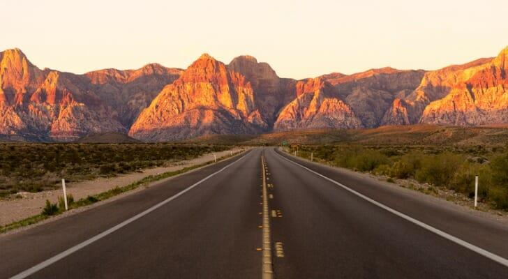 Highway through Nevada's Red Rock Canyon