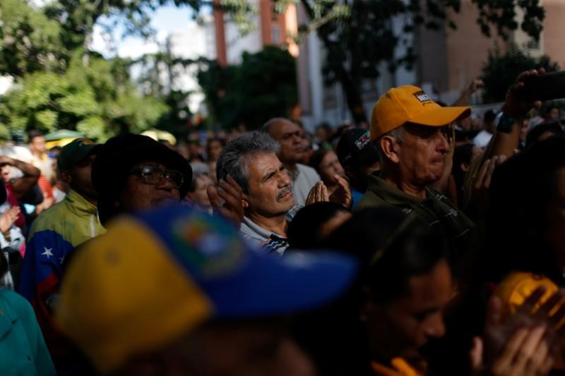 Supporters of Juan Guaido, president of Venezuela's National Assembly attend a citizen assembly in Caracas