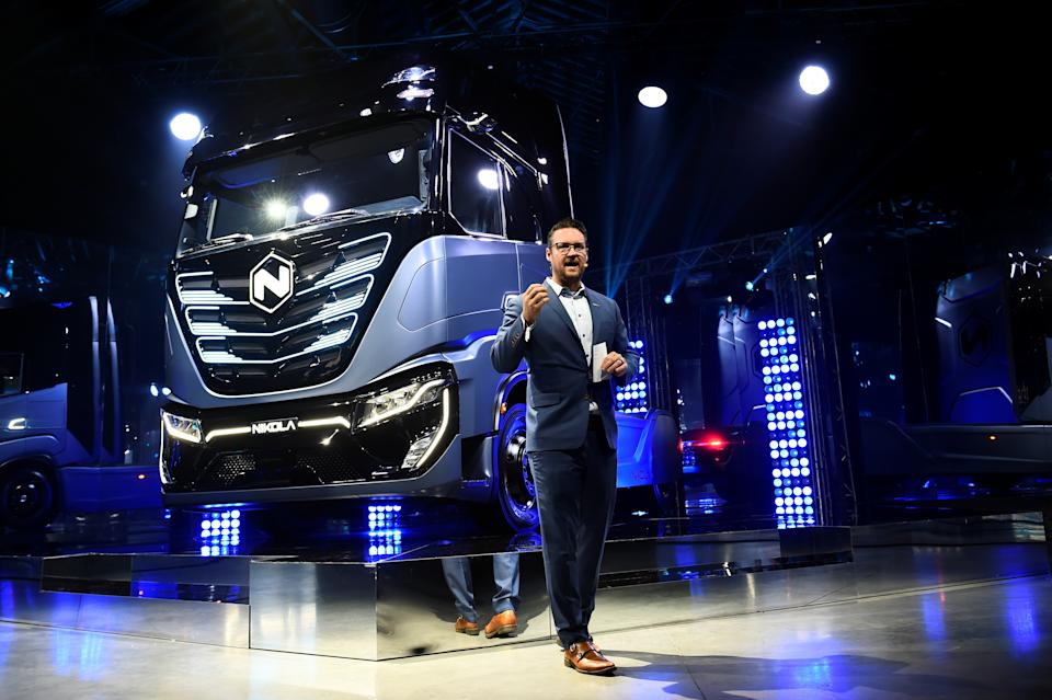 CEO and founder of U.S. Nikola Trevor Milton speaks during presentation of its new full-electric and hydrogen fuel-cell battery trucks in partnership with CNH Industrial, at an event in Turin, Italy, December 2, 2019. REUTERS/Massimo Pinca