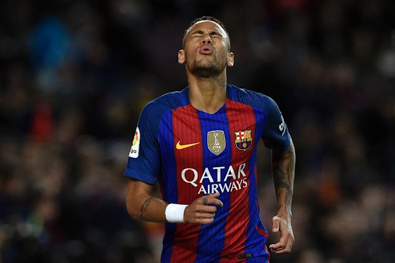 Barcelona's Brazilian forward Neymar pictured during the Spanish La Liga match against Malaga CF at the Camp Nou Stadium in Barcelona on November 19, 2016