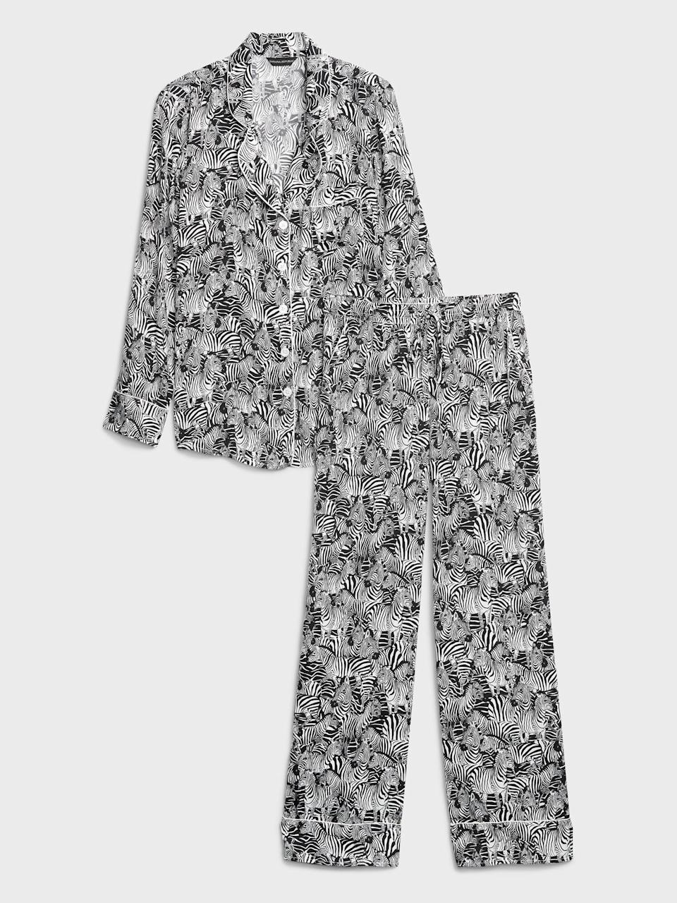 <p>It's important that we look cute while caring for ourselves. So of course, with a zebra mask and scrunchie, this<span>Banana Republic Satin Pajama Set</span> ($87) is the perfect compliment! The satin makes it feel extra luxe lounging around your house.</p>