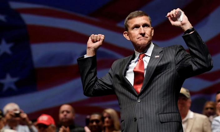 """<span class=""""element-image__caption"""">Michael Flynn at a campaign event in Virginia Beach in September 2016.</span> <span class=""""element-image__credit"""">Photograph: Mike Segar/Reuters</span>"""