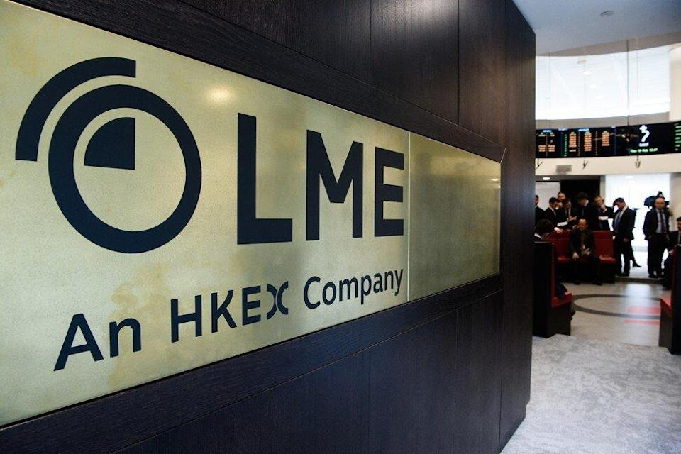 The signage of the London Metal Exchange (LME) in London on February 18, 2016. Photo: AFP