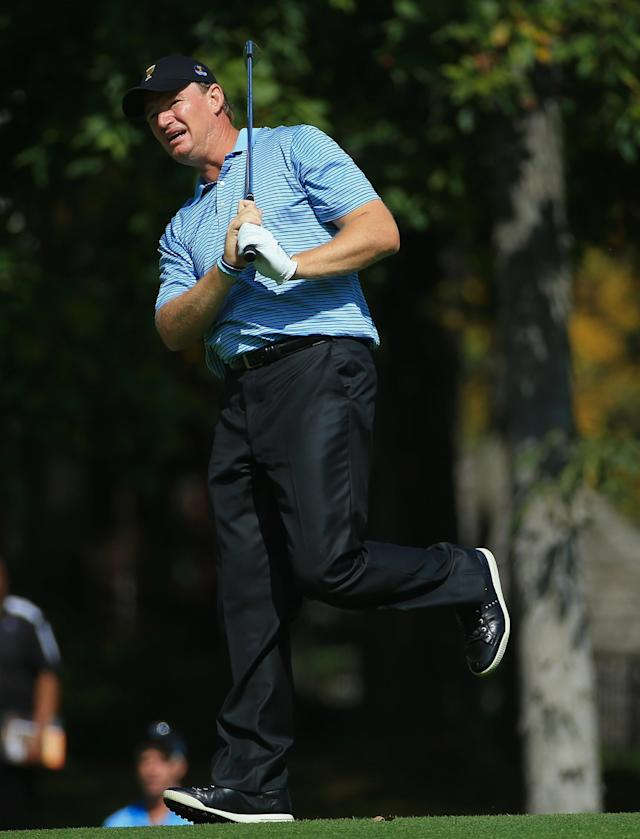 DUBLIN, OH - OCTOBER 01: Ernie Els of South Africa and the International Team watches a shot during a practice round prior to the start of The Presidents Cup at the Muirfield Village Golf Club on October 1, 2013 in Dublin, Ohio. (Photo by David Cannon/Getty Images)