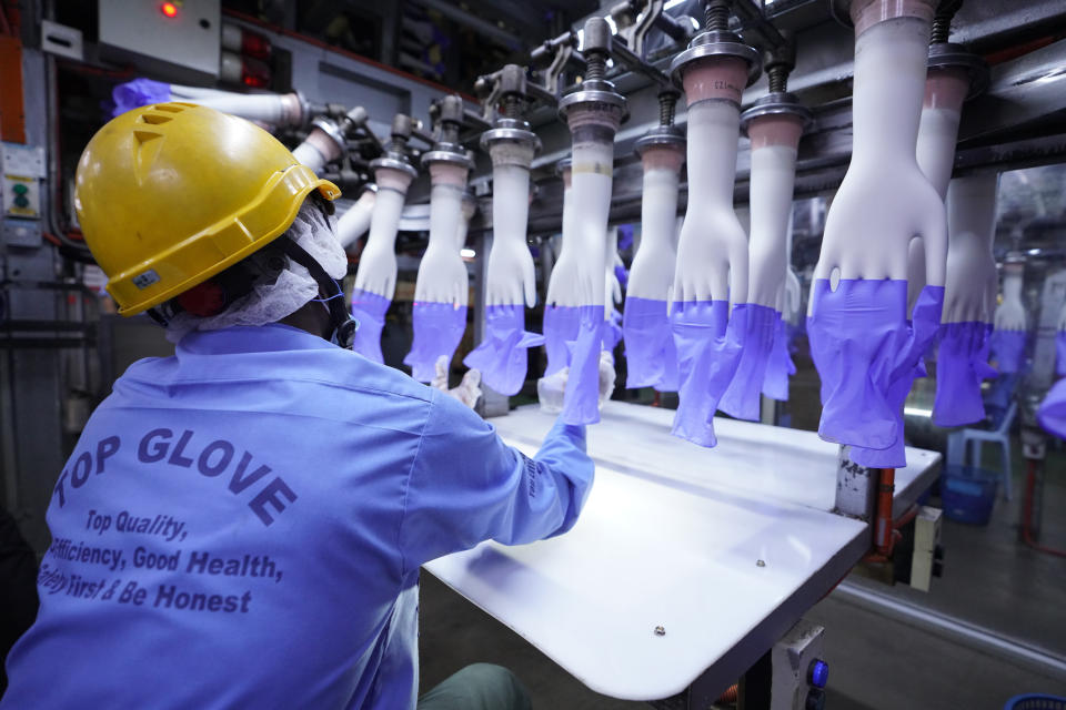 In this Wednesday, Aug. 26, 2020, file photo, a worker inspects disposable gloves at the Top Glove factory in Shah Alam on the outskirts of Kuala Lumpur, Malaysia. Malaysia's Top Glove Corp., the world's largest rubber glove maker, said Tuesday it expects a delay in deliveries after it was hit by a coronavirus outbreak that affected thousands of workers. (AP Photo/Vincent Thian)