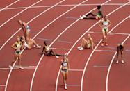 <p>Athletes catch their breaths after competing in round one of the Women's 1500m heats on day ten of the Tokyo 2020 Olympic Games at Olympic Stadium on August 02, 2021 in Tokyo, Japan. (Photo by Ezra Shaw/Getty Images)</p>