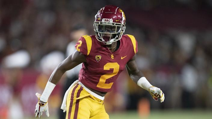 USC cornerback Olaijah Griffin is pictured in a game against Fresno State on Sept. 31, 2019, in Los Angeles.