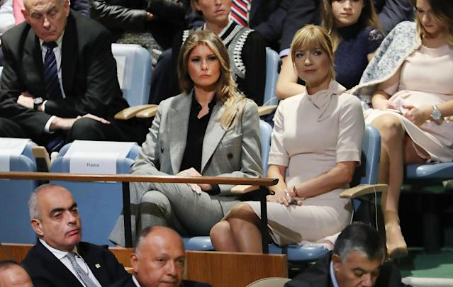 Melania Trump and her Calvin Klein power suit at the U.N. (Photo: Getty Images)