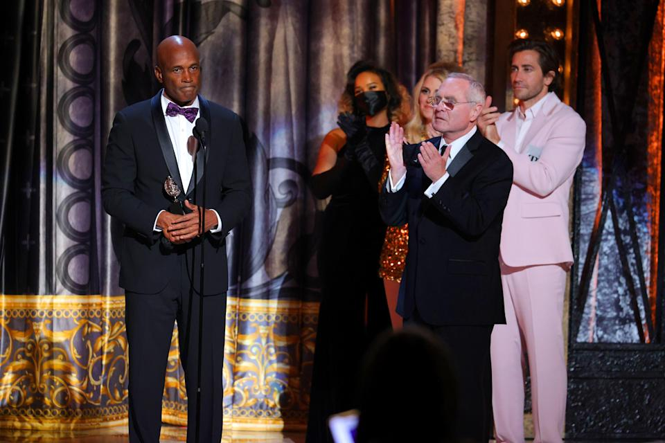 """NEW YORK, NEW YORK - SEPTEMBER 26: Kenny Leon (L) accepts the award for Best Revival of a Play for """"A Soldier's Play"""" during the 74th Annual Tony Awards at Winter Garden Theatre on September 26, 2021 in New York City. (Photo by Theo Wargo/Getty Images for Tony Awards Productions)"""