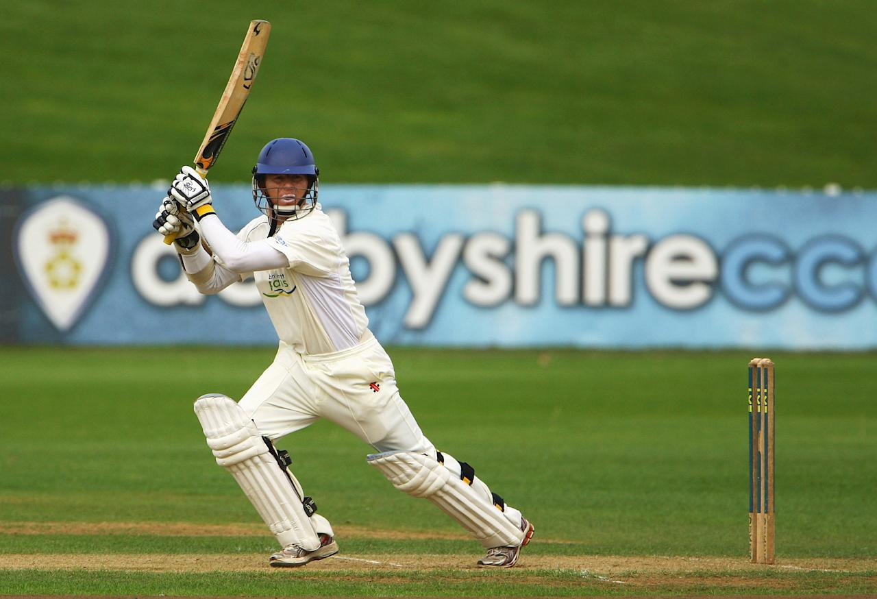 DERBY, ENGLAND - SEPTEMBER 03:  Chris Rogers of Derbyshire edges the ball towards the boundary during the second day of the LV County Championship Division Two match between Derbyshire and Kent at the County Ground on September 3, 2009 in Derby, England.  (Photo by Matthew Lewis/Getty Images)