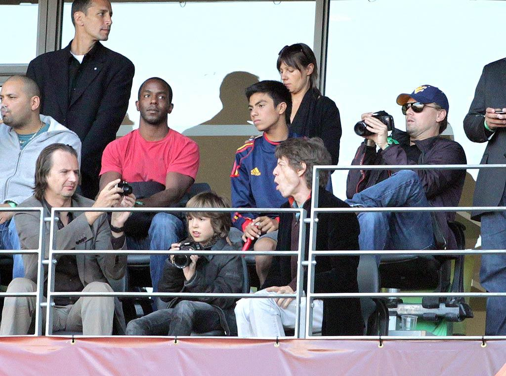 """Leonardo DiCaprio, Mick Jagger, and Mick's son Lucas were spotted in Cape Town, South Africa, watching the World Cup quarter final between Germany and Argentina on Saturday. Juan Soliz/<a href=""""http://www. PacificCoastNews.com"""" target=""""new"""">PacificCoastNews.com</a> - July 3, 2010"""