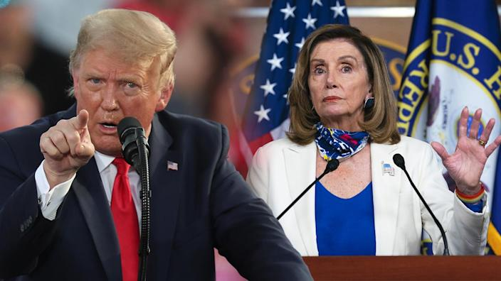 President Trump and U.S. House Speaker Nancy Pelosi at odds over second stimulus deal. (Photo Illustration: Yahoo! News; Photos: Getty Images (2)