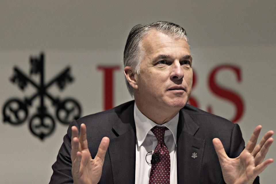 Sergio Ermotti the CEO of Swiss banking giant UBS addresses the annual results news conference on January 22, 2018 in Zurich. - Swiss banking giant UBS reported on January 22, 2018 that its profits plummeted 63 percent last year due to US tax reforms that hit fourth-quarter earnings. (Photo by MICHELE LIMINA / AFP)        (Photo credit should read MICHELE LIMINA/AFP via Getty Images)